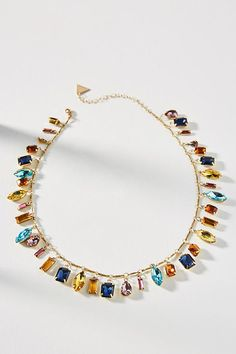 Slide View: 1: Candy Charm Bib Necklace  try this with lampwork beads or gemstone nuggets #beautifuljewelrynecklaces