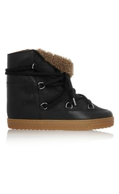 Isabel Marant Nowles Shearling-Lined Leather Concealed Wedge Boots Black - Isabel Marant Christmsa Deals ($840->$252, 70%off) AVAILABLE NOW! #christmasgift #christmas #christmasdeals