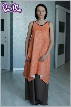Платье льняное Около бохо оранжевое - 3,290.00руб. : Кенгамама, одежда для кормящих, платья для беременных, сумка для мамы