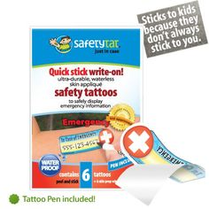 SafetyTat - Temporary tattoos great for kids that have a tendency to wander or run off.