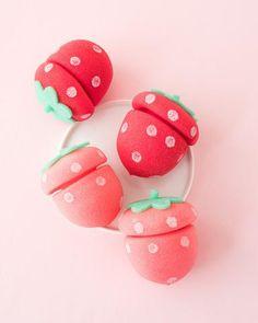 ETUDE HOUSE My Beauty Tool Strawberry Sponge Hair Curlers - medium size, casual waves