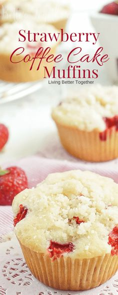 These Strawberry Coffee Cake Muffins are made with sweet fresh berries and buttermilk and topped with a delicious sugar and butter crumble! They're super easy to make and readers have called them the best muffin recipe they've ever had!