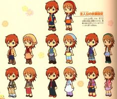 All the different outfits from A Tale of Two Towns. (From the Harvest Moon 15th Anniversary Illustration Collection)