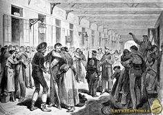Grabado de la Ilustración Española y Americana, Embarque de soldados para Cuba, en la estación del Mediodía (Madrid)