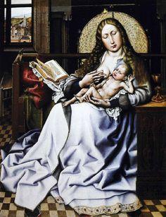 Robert Campin: La Madone de l'Ecran d'osier,1430, est transposée dans une maison bourgeoise de la Flandre du 15°s. C'est un chef-d'oeuvre de la poésie intime. Le manteau couleur de perle de Marie se détache des teintes marron-brun du bois du mobilier, des parois et de la fenêtre; le visage ovale illumine le tableau, avec les reflets des cheveux dénoués, devant le disque de l'écran, semblant devenir une auréole. Par la fenêtre, on aperçoit la ville (Londres, National gallery)