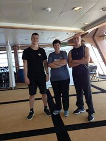 At the Gym on the Cruise Ship with the 2 great personal trainers! Proving you can do a six week cruise and not gain weight!