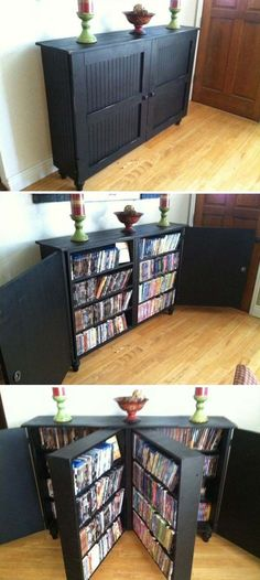 Dvd Storage Idea Living Room 25 Creative Hidden Storage Ideas for Small Spaces In 2020 Dvd Cabinets, Hidden Storage, Diy Dvd Storage, Creative Storage, Movie Storage, Dvd Storage Cabinet, Cabinet Space, Storage For Books, Dvd Storage Solutions