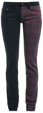 Trousers from R.E.D. by EMP:  - 5-pocket style - Skinny fit - Concealed zip fly - Left leg with tartan pattern  These Tartan Megan trousers from R.E.D. by EMP have a two-part design. One trouser leg is black, while the other has a Scottish tartan pattern. The skinny fit will show off your gorgeous figure.