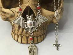 Vampire Bat Necklace. Gift For Her Silver by LittleAlsAccessories