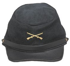 Suede and Leather Civil War Reproduction Hats - Yankee Blue, Confederate Gray or Black Leather