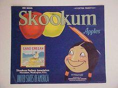 icollect247.com Online Vintage Antiques and Collectables - Skookum Lake Chelan Indian Brave Apples, Vintage Label, 1916