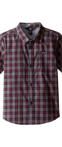 Volcom Kids Amerson Short Sleeve Woven Top (Toddler/Little Kids) (Sulfur Blue) Boy's Short Sleeve Button Up - Volcom Kids, Amerson Short Sleeve Woven Top (Toddler/Little Kids), Y0411702-SFB, Apparel Top Short Sleeve Button Up, Short Sleeve Button Up, Top, Apparel, Clothes Clothing, Gift - Outfit Ideas And Street Style 2017