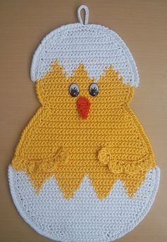 This Pin was discovered by Tra Crochet Mittens Free Pattern, Crochet Scarf Easy, Baby Afghan Crochet, Crochet Animal Patterns, Easter Crochet, Crochet Hot Pads, Cute Crochet, Crochet Kitchen, Crochet Home