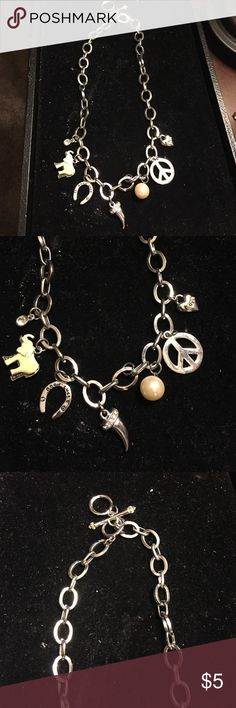 Charm Necklace Silver Charm Necklace gently worn Jewelry Necklaces