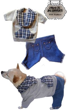 Dog Clothes Pattern Pups In Da Hoodie Jeans  Hoodie