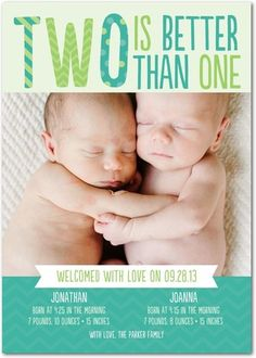 "Our new ""Better Than One"" twin birth announcement!"