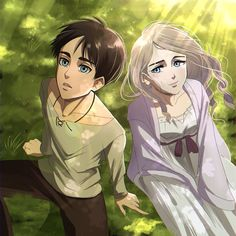 Christa Attack On Titan, Attack On Titan Fanart, Attack On Titan Ships, Attack On Titan Anime, Eren Aot, Eren And Mikasa, Anime Girl Short Hair, Historia Reiss, Couple Moments