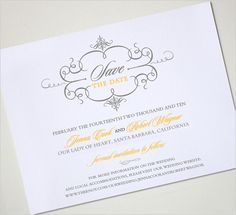 Yellow and Gray save the date card - GORGEOUS!