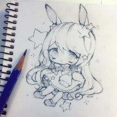 sketch sketch~ I keep losing my erasers and finding them a few weeks later when I already got a new one and it's always just lost in plain sight, I just never saw it before ヽ(o`皿′o)ノ - - - - - #chibi #sketch #sketchbook #pencil #kawaii #cute #moe #oc #kawaiigirl #doodle