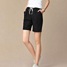 New 2017 Summer shorts women high waist Fashion Pleated Loose solid cotton linen feminino short for women candy color shortsXXXL