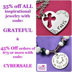 #CyberMonday Sale! 35% off ALL inspirational #jewelry & accessories & 45% Off orders of $75 at www.cicinspireme.com! Ends at 11:59pm CST!