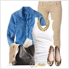 chambray and tan outfit - great casual chic outfit for work 😉 Look Fashion, Womens Fashion, Fashion Design, Fashion Trends, Fall Fashion, Fall Winter Outfits, Autumn Winter Fashion, Mode Outfits, Casual Outfits