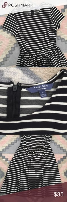 Peter Som Striped Dress This dress is THE CUTEST! It has only been worn once and is in PERFECT condition. It is stretchy and comfortable with he cutest shape. It zips up the back! Peter Som Dresses