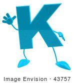 # 43757 Libres de Derechos (Rf) de un 3d de la turquesa de la letra K del personaje con brazos y piernas