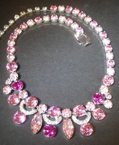 Vintage Signed EISENBERG ICE Fuchsia, Hot & Powder Pink Rhinestone Necklace #EisenbergIce