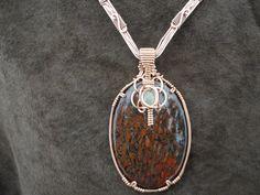 Dinosaur Bone/ Tourmalated Quartz Copper colar by SamArtStudio, $250.00