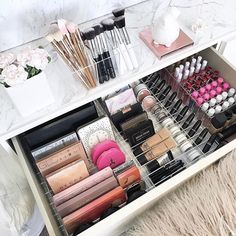 WEBSTA @ vanitycollections - This gorgeous layout - achieved in my IKEA Malm 6 drawer dresser. Layout also fits in the IKEA Malm 3 drawer dresser (drawers are the same size ).2 x VC Dividers - Medium size.They fit perfectly front to back.I used Set 2 and Set 1 and #makeuporganizerdrawer