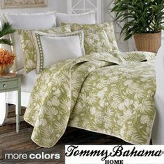 Tommy Bahama Plantation Floral 3-piece Quilt Set $80.99 for queen and Twin beds (do all the same bedding) with white dust ruffles and linens to coinside with green master with white bedding....change paint color to sand color