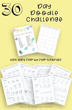 30 Day Doodle Challenge With Step By Step Tutorials, Easy Doodle Tutorials, Learn How To Doodle, How to Draw Tutorials, Doodle Prompts Easy Doodles Drawings, Easy Doodle Art, You Doodle, Cool Doodles, Simple Doodles, Doodle Ideas, Doodle For Beginners, 30 Day Drawing Challenge, Doodle Quotes