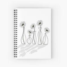'Daisy Flower Vases' Spiral Notebook by PounceBoxArt Framed Prints, Canvas Prints, Art Prints, Flower Vases, Flowers, Notebook Design, Free Stickers, Sticker Paper, Notebooks