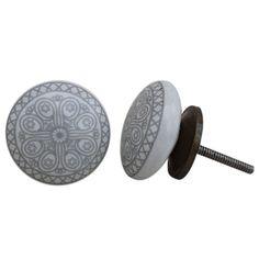 Handmade Knobs, Ceramic Knobs, Drawer Knobs, Cabinet Knobs, Indian Knobs, Vintage Knobs, Knob Pull, Gray Knobs, Floral Knobs CK-948