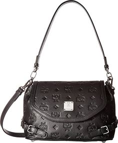 MCM Womens Essential Monogrammed Leather Small Crossbody