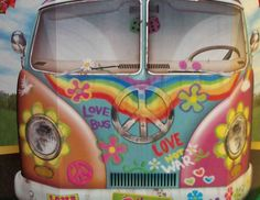 Hippie Bus Photo Prop - you'll have the grooviest party on the block Hippie Birthday Party, Hippie Party, 60th Birthday Party, Birthday Party Decorations, Party Themes, Party Ideas, Party Plan, Birthday Ideas, Gift Ideas