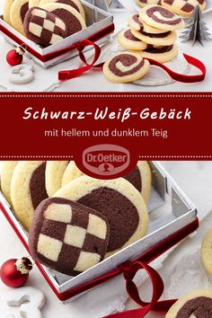 Black and white pastries: Crunchy cookies with light and dark dough for Christmas # cookies Black and white cookies Dr. Oetker Deutschland droetkerdeutsch Weihnachtsplätzchen Black and white pastries: Crunchy cookies with light a Chocolate Chip Cookies, Chocolate Cookie Recipes, Easy Cookie Recipes, Homemade Chocolate, Peanut Butter Cookies, Cake Recipes, Black And White Cookies, Homemade Donuts, Food Cakes
