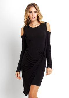 IRON Cold-Shoulder Dress with Knot Detail