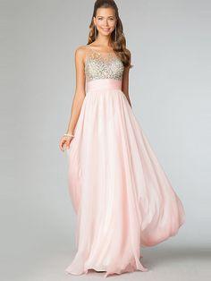 A-line Bateau Sleeveless Chiffon Prom Dresses With Beaded #BK117