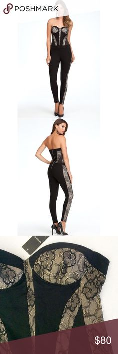 BEBE Black Lace Panel Jumpsuit Such a sexy one piece jumpsuit! Gorgeous Geometric Lace Paneling. Sleek Skinny Leg cut. Material is stretchy which make for comfort and nice fit. Metal Zipper. Material: 70% rayon, 25% nylon, 5% spandex.   NOTE: One part of the hook for closure in back is missing (shown in last picture). I will provide new replacement hook when purchased.  TRADING PAYPAL bebe Pants Jumpsuits & Rompers