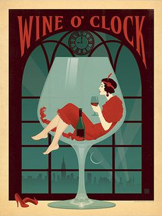 Wine O'Clock - This elegant print celebrates the seducctive qualities of red wine—any time. Much like real wine, this calssic Art Deco-style print will improve with age.<br />