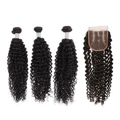 【Grade 6A】Indian Virgin Hair 3 Bundles Deep Curly Hair Extensions 300g With 1pcs Three Part Lace Closure Natural Black