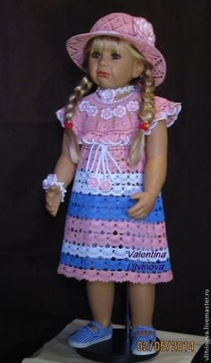 """Комплект платьице """"Цветочек"""" и шляпка. - в полоску,крючок,брусничный,платье крючком"""