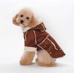 2016 Winter Sherpa Suede Dog Coat Fashion Warm Dog Jacket Hooded Dog Fleece Clothes High Quality Pet Dog Clothes