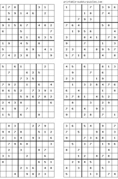 There are 4 sudoku puzzles per page. The printable sudoku puzzles pages below are listed in order of difficulty. If you are new to sudoku, start with an easy puzzle. Sudoku Puzzles, Printable Puzzles, Logic Puzzles, Free Printables, Math For Kids, Puzzles For Kids, English Worksheets For Kids, Fun Math Games, Puzzle Books