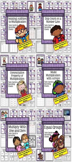 Multiplication Task Cards and Answer Sheets Bundle for Third Grade with No Common Core Listings. These task cards are made to be an additional resource for any math series chapter on multiplication. * Relate Addition to Multiplication * Equal Groups * Skip Count on a Number Line * Model Multiplication with Arrays * Commutative Property of Multiplication * Multiply With One and Zero #TPT $Paid