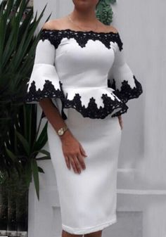 Sum All Chic, Shop White-Black Floral Lace Off Shoulder Peplum Two Piece Elegant Cocktail Party Midi Dress online. Latest African Fashion Dresses, African Print Dresses, African Print Fashion, African Dress, Ankara Fashion, Africa Fashion, African Prints, African Style, African Fabric