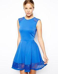 Image 1 ofASOS Lace insert Skater dress
