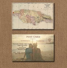 Vintage Jamaica Map Save the Date Postcard by JLCprintables, $12.00